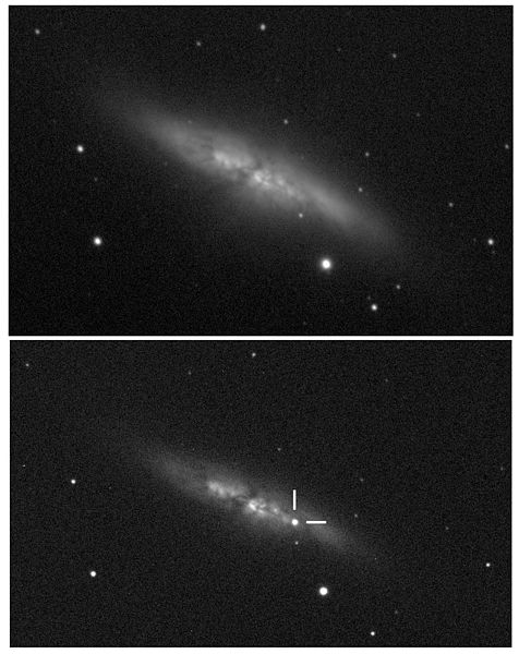 The M82 galaxy before (top) and after (bottom) its new supernova on Jan. 22 (Photo: UCL/University of London Observatory/Steve Fossey/Ben Cooke/Guy Pollack/Matthew Wilde/Thomas Wright)