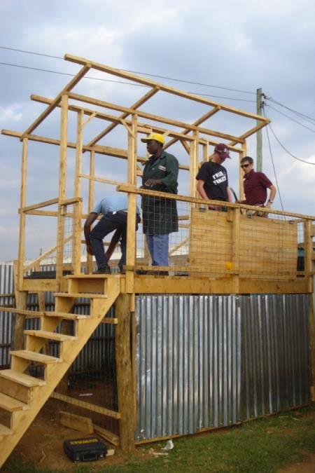 Assembling an anaerobic digestion toilet in Eldoret, Kenya (Photo: Marc Deshusses)