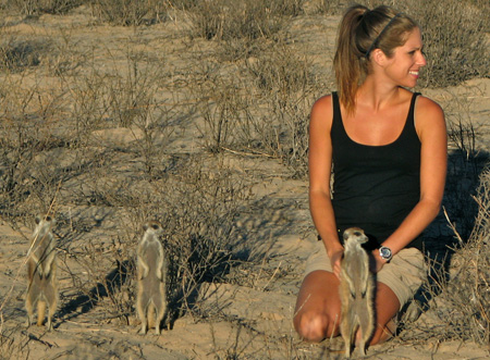 Meerkats, and graduate students like Kendra Smyth, are often seen scanning the horizon.