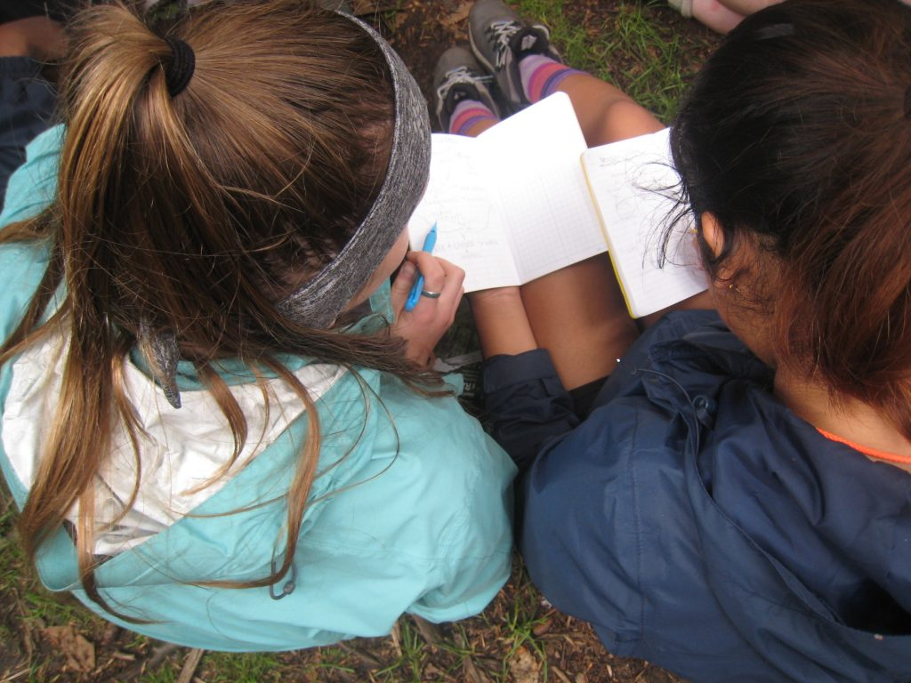 Savannah Midgette and Briyete Garcia-Diaz drawing interactions within terrestrial systems as part of a new free summer science program called Girls on outdoor Adventure for Leadership and Science, or GALS. Learn more at https://sites.duke.edu/gals/.