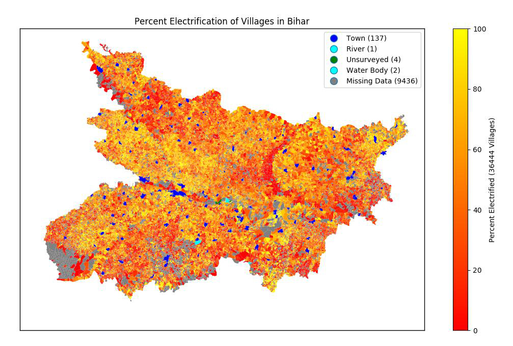 Electrification map of Bihar, India