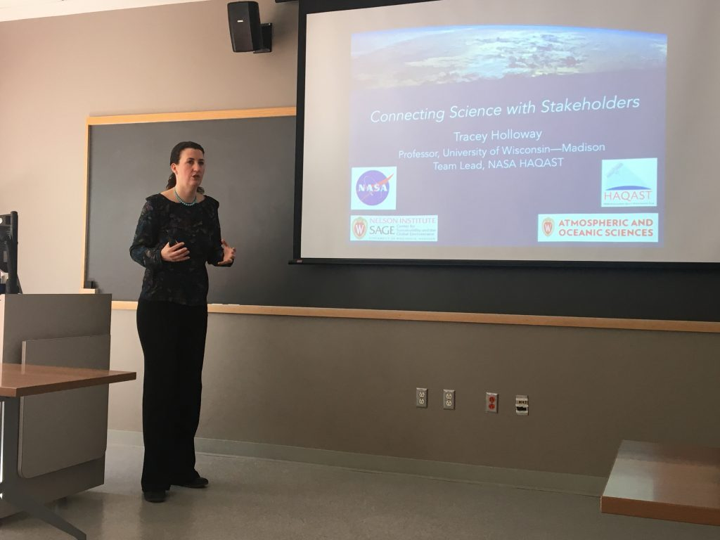 Professor Tracey Holloway, air quality researcher at University of Wisconsin-Madison, presented her research at Duke on March 2, 2018.