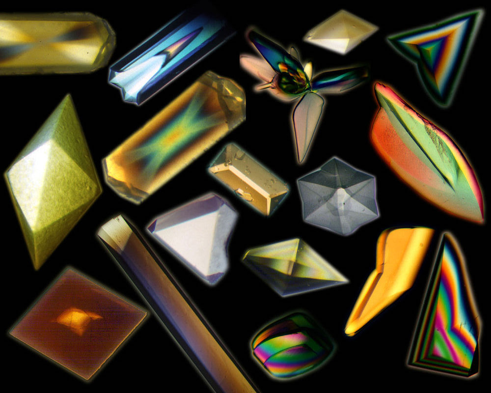 A collection of iridescent crystals grown in space